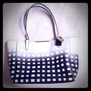 Coach Black & White Square Ombre Tote